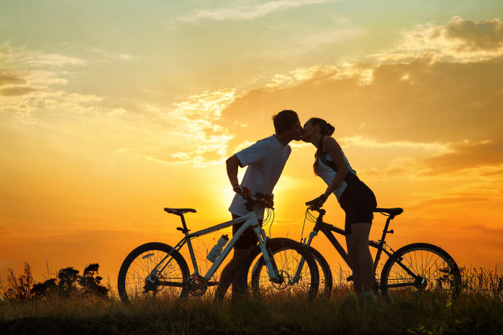 Valentines Day couple kissing bike